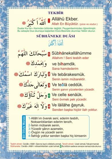 Namaz dua ve Sureler Seti - 1 (Saten Kumaş) 18 Poster