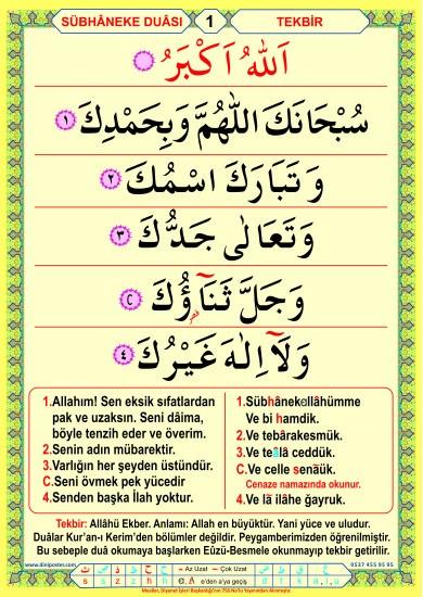 Namaz dua ve Sureler Seti-2 (Saten Kumaş) 20 poster